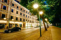 Stock Photo of Night view of Pohjoisesplanadi street in Helsinki