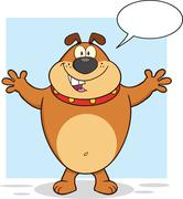 Brown Bulldog Cartoon Character With Open Arms For Hugging And Speech Bubble Stock Illustration