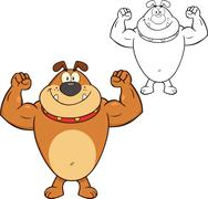 Smiling Bulldog Cartoon Mascot Character Showing Muscle Arms Stock Illustration