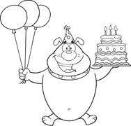 Black And White Bulldog Character Holding Up A Birthday Cake With Candles Piirros