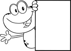Black And White Cute Frog Character Looking Around A Blank Sign And Waving - stock illustration