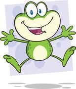 Cute Green Frog Cartoon Character Jumping Stock Illustration