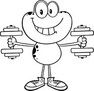 Black And White Smiling Frog Cartoon Mascot Character Training With Dumbbells - stock illustration