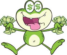 Crazy Green Frog Cartoon Character Jumping With Cash - stock illustration