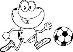 Black And White Cute Frog Cartoon Character Playing With Soccer Ball - stock illustration