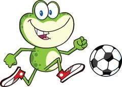 Cute Green Frog Cartoon Character Playing With Soccer Ball Stock Illustration