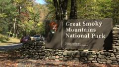 entrance sign to great smoky mountains national park, nc, usa - stock footage