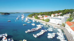 Hvar, Croatia harbour from aerial drone overhead 48 - stock footage