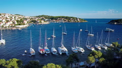Hvar harbour over boats from aerial drone overhead 50 - stock footage
