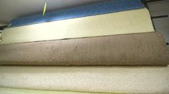Samples of carpet flooring in warehouse Stock Footage
