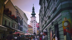 Street scene in the old town, in Bratislava, Slovakia. real time Stock Footage