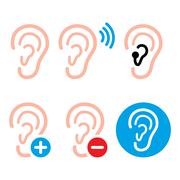 Ear hearing aid, deaf person - health problem icons set - stock illustration