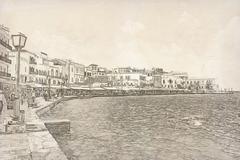 Chania on island of Crete, Greece - stock illustration