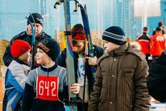 Unrecognizable Belarusian secondary school pupils preparing for Stock Photos