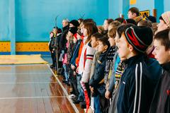 Unrecognizable Belarusian secondary school pupils lined up in th Stock Photos