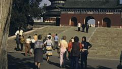 China 1987: visitors near Temple of Heaven Stock Footage
