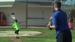 Batting Practice Dad and Boy Stock Footage