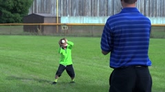 Dad and Son Play Catch Baseball Stock Footage