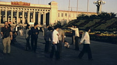 China 1987: visitors walking in Beijing Stock Footage