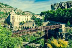 parador nacional of cuenca in castille la mancha, spain. - stock photo