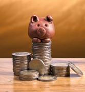 brown piggy bank and coins. - stock photo