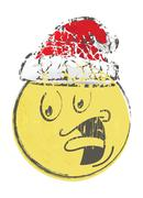Christmas cartoon face emotions Stock Illustration
