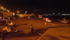 Emergency Airplane Landing at Night Stock Footage