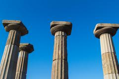 ruined columns of athena template - stock photo