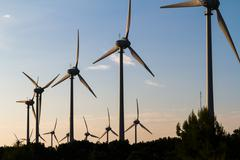 windmills for renewable electric - stock photo