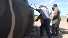 Filling up Kiowa helicopter with jet fuel Stock Footage