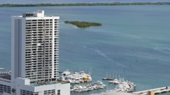 Miami waterfront condo and marina static aerial 4k Stock Footage