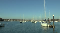 Sail boats on the River Hamble, Hampshire, UK. Stock Footage