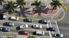Cars at a green light static aerial 4k video Stock Footage