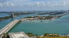 Tilt shift miami beach macarthur causeway 4k Stock Footage