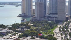 Bayfront park downtown miami static aerial 4k Stock Footage