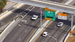 Macarthur causeway entrance ramp traffic 4k Stock Footage