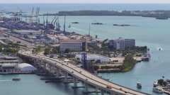 Port miami static aerial 4k video Stock Footage