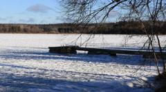 Beautiful Winter Landscape Waterfront Dock Stock Footage