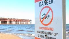 Beach Hazard sign Stock Footage