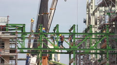 Work in industrial construction plant - stock footage