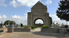 Church ruins & memorial to the Graignes Massacre, Normandy, France. Stock Footage
