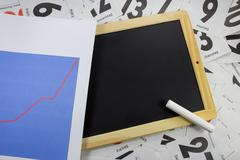 Slate board with chart Stock Photos