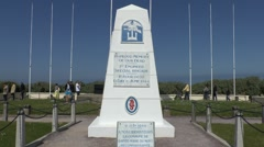 US 1st Engineer Special Brigade Memorial on Utah Beach, La Madeleine, Manche, Fr Stock Footage