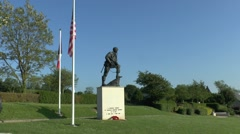 The 'Iron Mike' memorial to the 82nd Airborne, La Fière bridge, Normandy. Stock Footage
