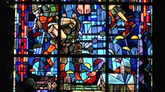 Stained glass window inside the Church in St-Mère-Église, Normandy, France. Stock Footage