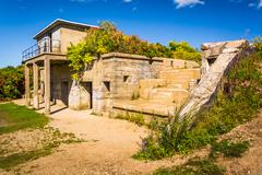 abandoned building at fort williams park, in cape elizabeth, maine. - stock photo