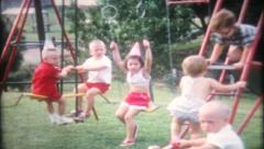 1565 - childrens backyard birthday party - vintage film home movie - stock footage