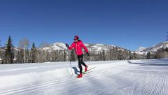 Slow Motion Woman Cross Country Skiing In Winter Sport HD - stock footage