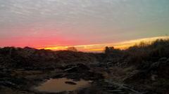 Frozen waste land sunrise Stock Footage