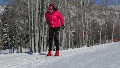 Woman Cross Country Skiing In Winter Sport HD - stock footage